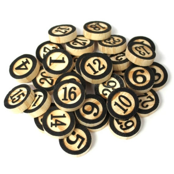 Laser Cut Supplies-31 Piece.Black Wooden Bingo Chips -Brooch Supplies- Little Laser Lab Sustainable Wood Products