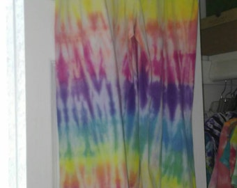 Ladies' Size XS Capri-length Yoga Pants in Rainbow Line-dyed Tie-dye Pattern with Foldover Waistband