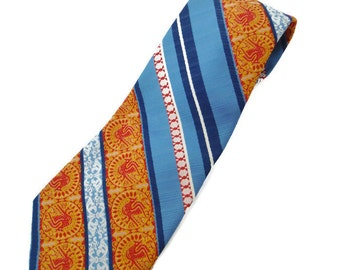 Vintage multi-colored diagonal striped men's necktie