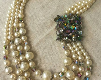 Vintage Austrian crystal and pearl necklace - 16""