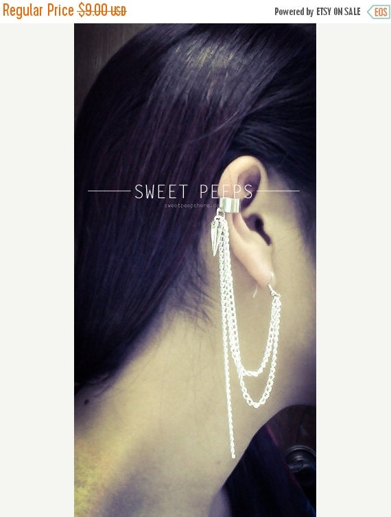 Valentines Sale Silver Spike Charm and Silver Chain Ear Cuff
