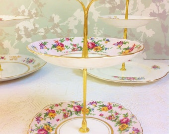 Pink Floral 2 Tier Mini Cake Stand, Colclough China