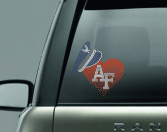 Air Force Heart Decal - United States Air Force - Armed Forces - Military Car Decal - Air Force Mom - Air Force Wife - Air Force Sister