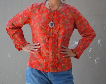Vintage wool 70's blouse bohemian top 1970's hippie shirt red floral patterned warm autumn winter boho ruffles long sleeves