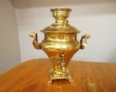 Vintage Small Brass Samovar Lamp Base Part or Candleholder Charming Old World Design Art Lighting Supply