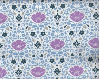 Orchid Floral Damask Ethereal cotton fabric - white blue periwinkle - Camelot Cottons - by the continuous YARD