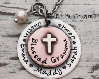 Personalized Jewelry, Hand Stamped, Blessed Grandma, Blessed Mom, Sterling Silver, Necklace, Name Jewelry, Gifts for Grandma, Mom Jewelry