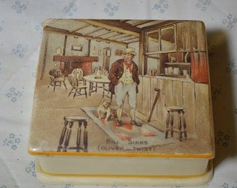ON SALE  A Vintage China Box Showing Bill Sikes from Oliver Twist by New Hall Hanley Staffordshire England