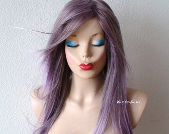 Purple / Lavender Ombre wig. Long straight soft layers hairstyle wig.Durable heat resistant synthetic wig for daily use or Cosplay.