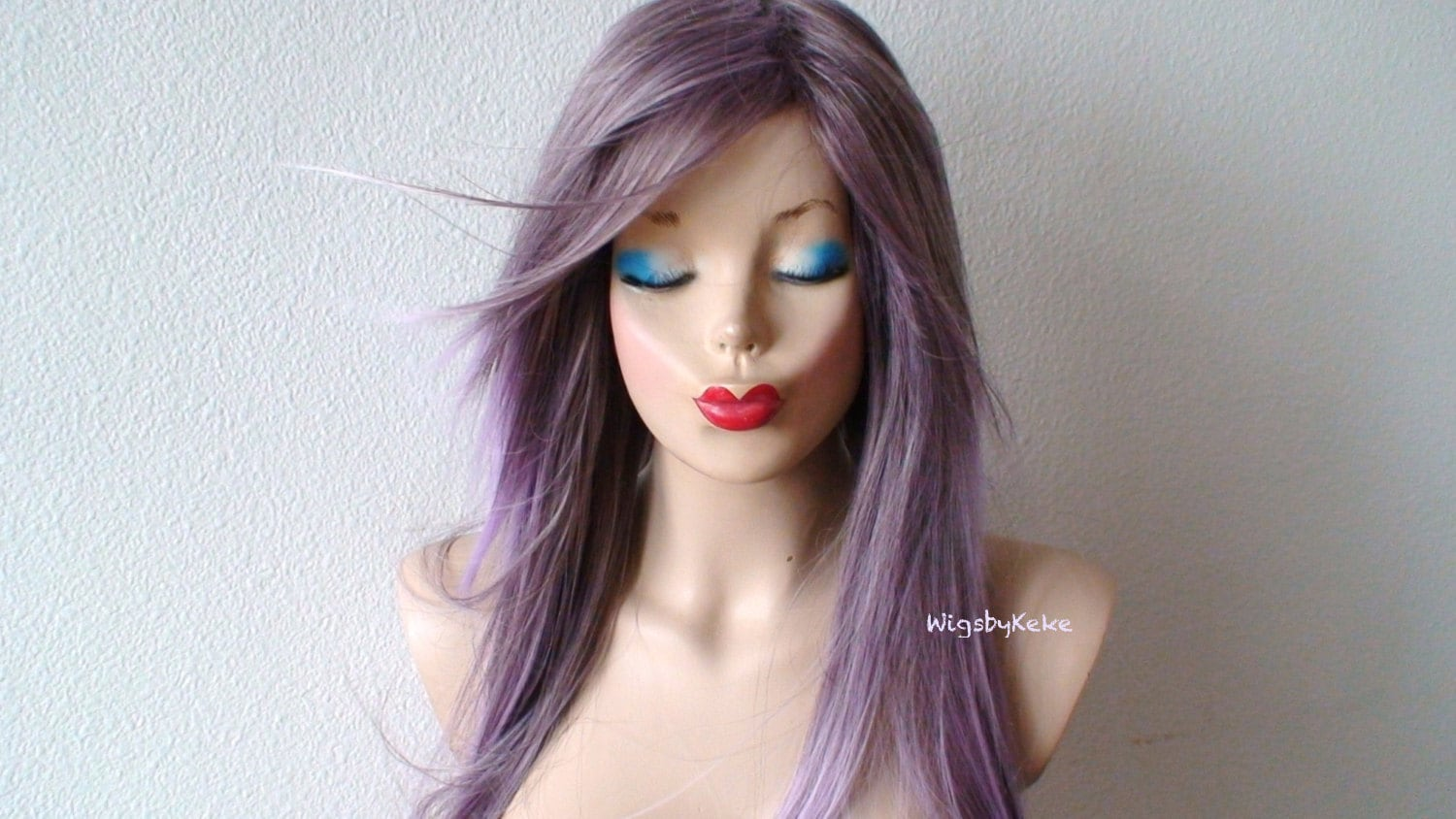 Purple / Lavender Ombre Wig. Long Straight Soft Layers