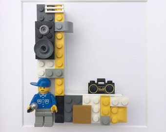 Lego Dj, MC, Rapper, Dec's Mans Office Art Superhero, Letters, Baby, Boy, Girl, Birthday, Customised, Picture, Nursery, Childrens, Room