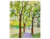 Tree painting original acrylic large canvas nature green summer impressionist pathway canvas 20 X 24 art Garima Parakh