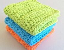 Crochet Wash Cloths - Cotton Crocheted Wash Cloths - Baby Wash Cloths - Kitchen - Bathroom - Baby - Set of 3