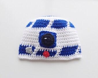 R2D2, Crochet R2D2 Hat, R2D2 Hat, R2D2 Beanie, Crochet R2D2 Beanie, Boys Hat, Crochet R2D2, Hat, Beanie, Crochet