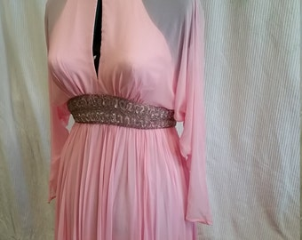 lovely pink 1970's pink chiffon long dress