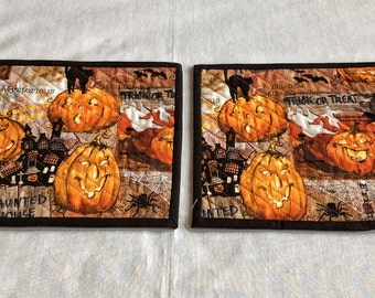 Halloween Snack Mats, Pumpkins and Halloween, Haunted Houses, Black Cats, Trick or Treat, Quilted Snack Mats, Handmade Snack Mats, Wine Mats