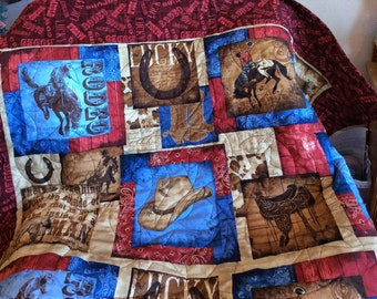 Quilted Cowboy Ranch Quilt, Lap Quilt, Sofa Throw, Reds, Blues, Beiges and browns
