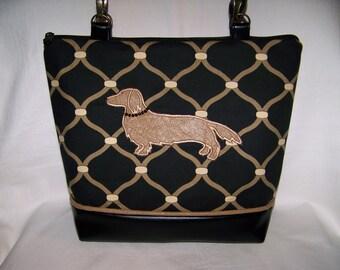 Long Hair Cream Dachund Handbag - Purse - Bag in Black and Tan Fabric