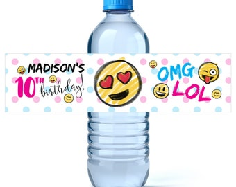 Emoji Birthday Water Bottle Labels - Birthday Water Bottle Label - Personalized Water Bottle - Emoji Party - Emoji Birthday Decor