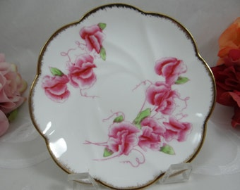 "Vintage Salisbury English Bone China  ""Sweet Pea"" Teacup Saucer"