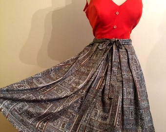 "1960s paisley handmade full skirt with attached wrap belt- volup 32"" waist"