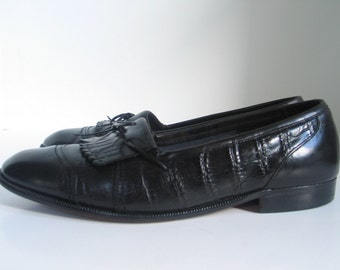 GIORGIO BRUTINI Black Leather Alligator Kilte Fringe Designer Dress Shoes Men's size 8.5 D Formal Slip On Loafer excellent vintage condition