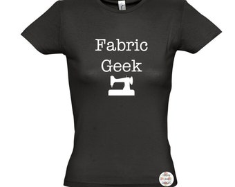 Fabric Geek // Womens Fitted T-shirt UK Size 8-18 // sewing quilting mum friend birthday christmas gift present