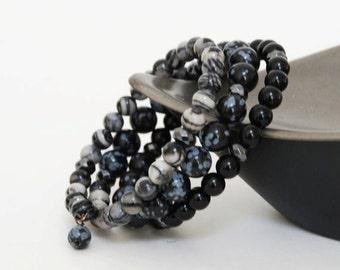 Black and Gray Natural Stone Bracelet - Black Layered Gemstone Memory Wire Bracelet