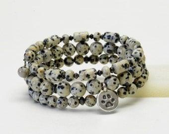 Dalmatian Print Gemstone Memory Wire Bracelet - Black and Cream Natural Stone Bracelet with Paw Print Charm - Dog (Animal) Lover Jewelry