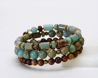 Blue and Brown Layered Gemstone Memory Wire Bracelet - Natural Impression Stone Bracelet - Earth Tone Natural Stone Bracelet