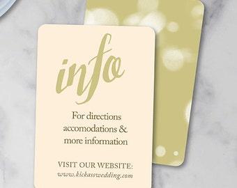 Wedding Invitation Info Card | Wedding Website Card | Wedding Direction  Card | Wedding Insert |