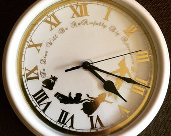Foiled Peter Pan Inspired Clock