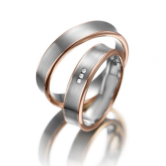 rose gold his & hers matchingwedding ring sethis and her