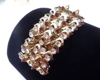 Vintage Rhinestone and Spikes Stretch Bracelet