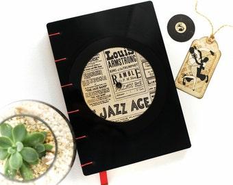 Handmade recycled LP vinyl record notebook, vintage vinyl handmade journal music, retro wedding guest book, coptic journal, music notebook