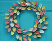 Felt Leaf Wreath - Modern Spring or Summer Wreath - Colorful and Unique Decor