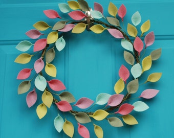 "Larger Size - Felt Leaf Wreath - Modern Spring or Summer Wreath - Colorful and Unique Decor - 18"" size"