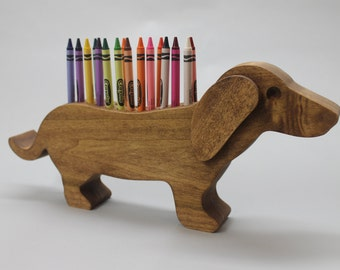 Dachshund crayon holder