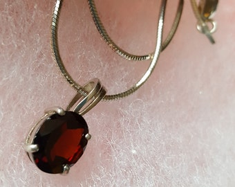 Ruby Red Silver Necklace Red Garnet Style Pendant Rhinestone Crystal 925 Sterling 16 Inch Chain Gift Womens  Bride BFF Bridesmaid Matron