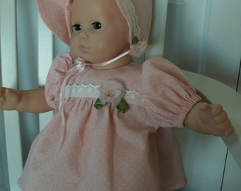 Doll clothes bonnet, dress, and diaper cover for popular 15 inch dolls either peach polka dot or blue floral