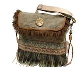 Fringed crossbody brown khaki, bohemian messenger handmade, unique handbag woman, sturdy purse brown, one of a kind bag handmade