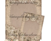 Digital Paper, Shabby Rose Digital Paper, Lace and Rose Vintage Announcement Set, Shabby Chic Digital Paper. No. 316