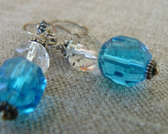 Swarovski Crystal – Earrings - Sterling Silver - Authentic Blue Swarovski - Rock Quartz - Faceted