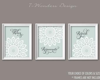 Bathroom Art Prints Relax Rejuvenate Refresh Geometric Flower Set Of (3)  5x7, 8x10