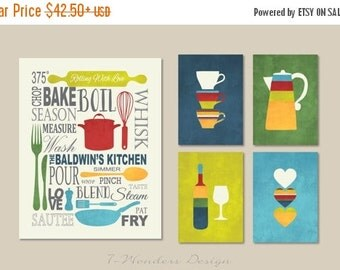 ON SALE Kitchen Art Prints Personalized Subway Art with Coffee, Wine and Hearts Prints - Set of (5) - 5 x 7's and 11 x 14 // Modern Kitchen