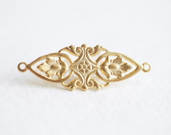 Gold Filigree Connector Charm - vermeil gold, 18k gold plated over sterling silver, finely detailed filigree connector link spacer