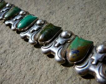 Taxco Bracelet,Taxco Silver,Felipe Martinez, Piedra Y Plata,Taxco Jewelry,Green Bracelet,Silver Cuff Bracelet,Silver Cuff,Vintage Taxco Cuff