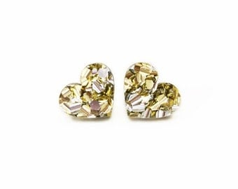 Gold and Silver Heart Glitter Studs