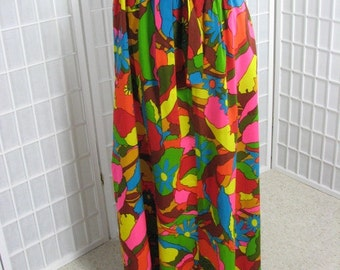 1960s Long Skirt with Tie Belt .......  Psychedelic, TECHNICOLOR .....  size Medium to Large