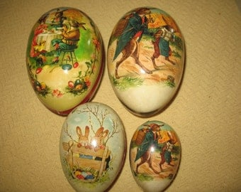 Easter eggs in paper mache. Made in Germany.